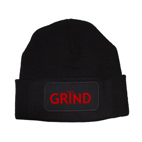 GRIND - Beanie Black with Red Print