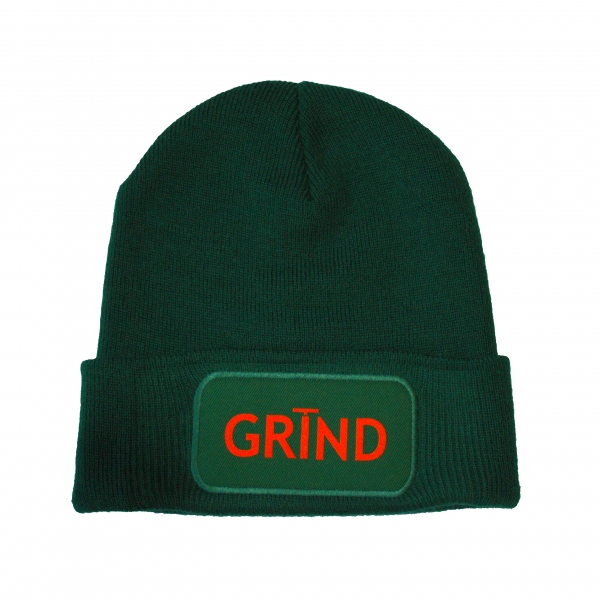 GRIND - Beanie Green with Orange Print