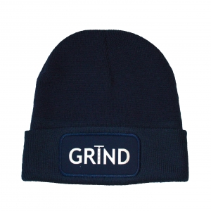 GRIND - Beanie Navy Blue with White Print