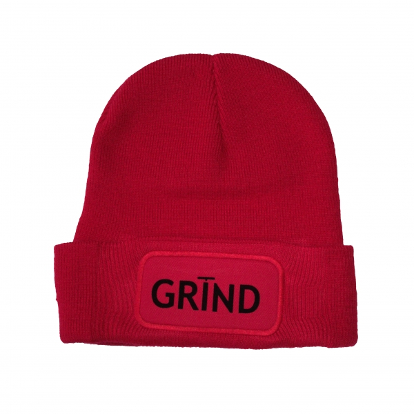 GRIND - Beanie Red with Black Print