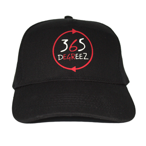 365 DEGREEZ - 5 Panel Cap - Black with Red White Print