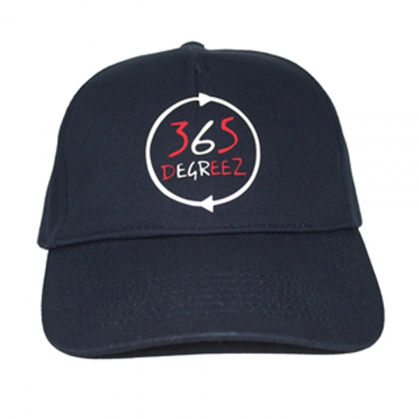 365 DEGREEZ - 5 Panel Cap - Navy Blue with White Red Print