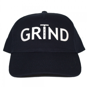 GRIND - 5 Panel Cap - Navy Blue with White Print